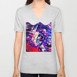 Fluid Abstract 35; Chaos in an Ocean Full of Fish Unisex V-Neck