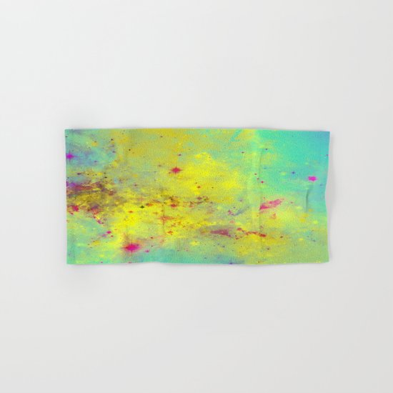 Pink Stars - Abstract space painting in yellow, blue and pink Hand & Bath Towel