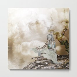 Fairy and the swan Metal Print