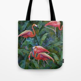 tropical pattern with flamingos Tote Bag