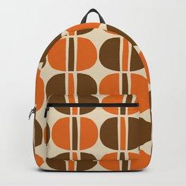 Mid Century Modern Geometric Pattern 127 Beige Brown and Orange Backpack