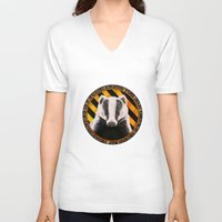 hufflepuff V-neck T-shirts featuring Hufflepuff by Brilyeon