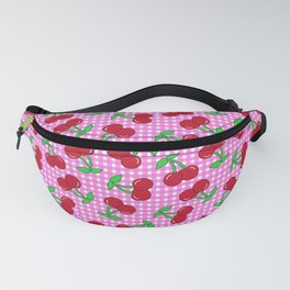 Rockabilly Pink + White Gingham & Cherries Fanny Pack