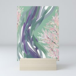 Deep Ocean River Abstract In Soft Green and Purple Mini Art Print