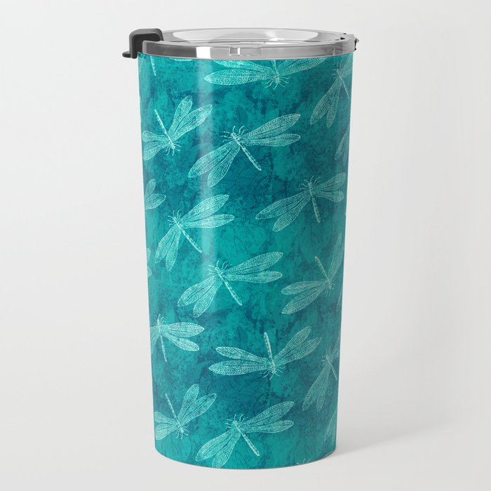 Dragonfly Dance Blue Green Travel Mug