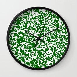Small Spots - White and Dark Green Wall Clock