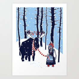 Den Swedish Christmas Moosen Art Print