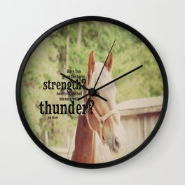 Job 39: 19 Horse Scripture Wall Clock