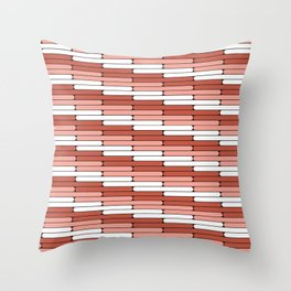 Staggered Oblong Rounded Lines Pantone Living Coral Illustration Throw Pillow