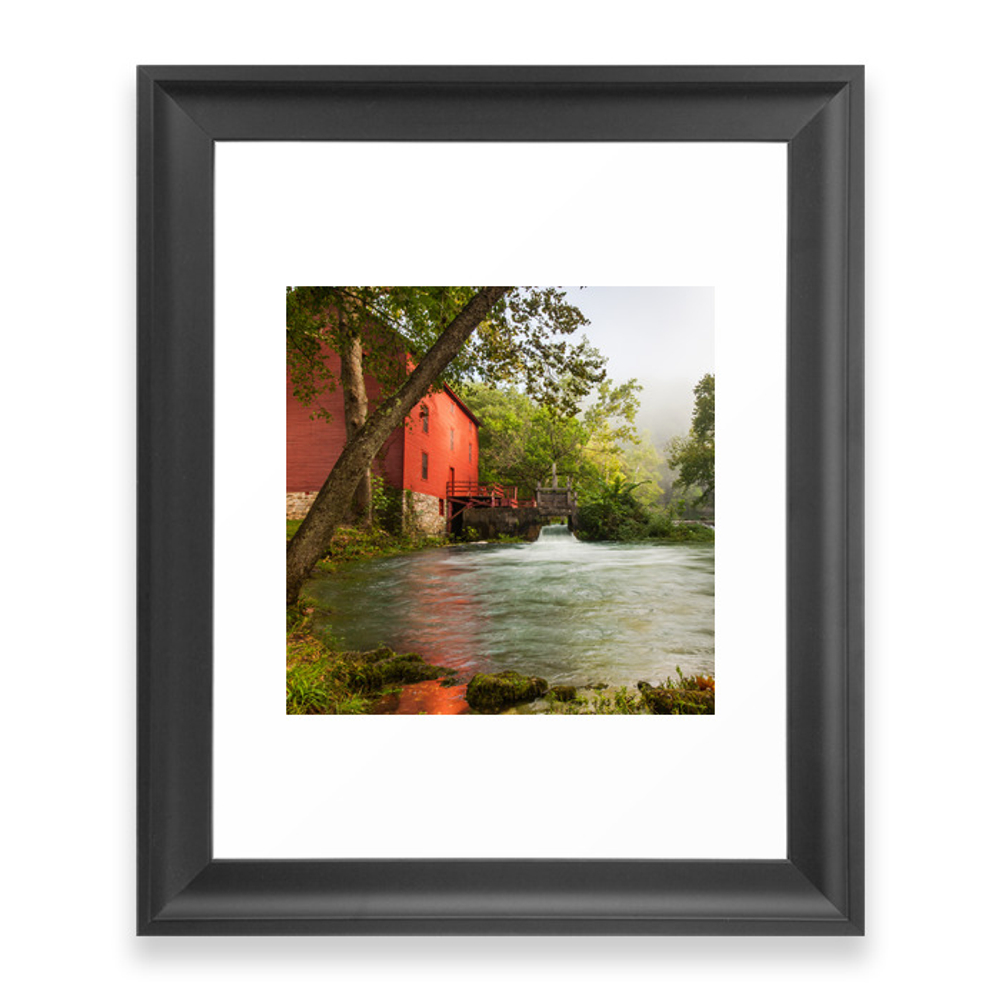 Alley Spring Mill - Square Format Framed Art Print by gregoryballosfineart