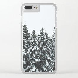 SNOWY TREETOPS Clear iPhone Case