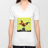 mom V-neck T-shirts featuring Mom by Pierre-Paul Pariseau