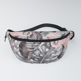 Flamingo Love - Watercolor Birds in Pink and Gray color Fanny Pack