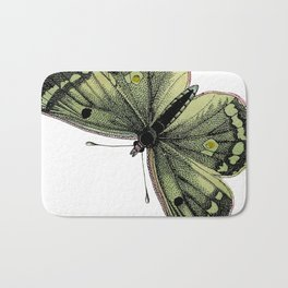 Vintage green butterfly illustration Bath Mat