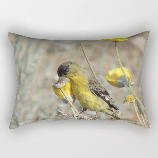 Mr. Lesser Goldfinch Feeds on Seeds Rectangular Pillow