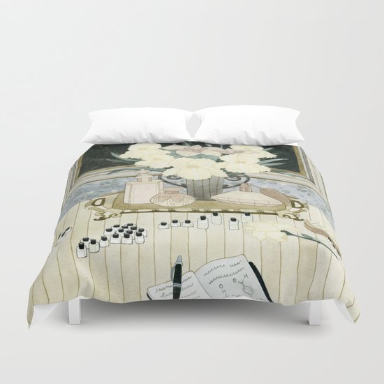 Perfumer at work Duvet Cover