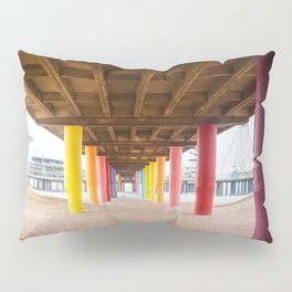Pier with color painted columns on the beach Pillow Sham