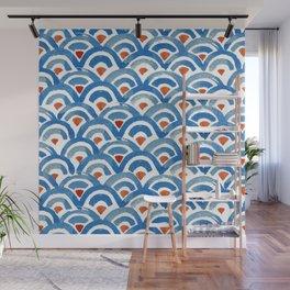 Japanese seigaiha ocean wave watercolor illustration pattern Wall Mural