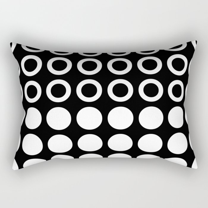 Mid Century Modern Circles And Dots Black & White Rectangular Pillow