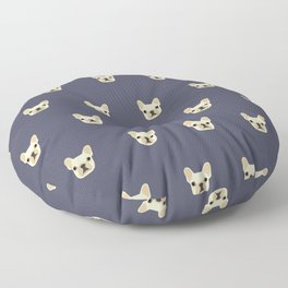 French Bulldog Peek - Cream on Navy Floor Pillow