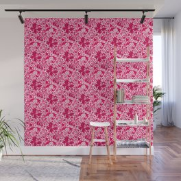 William Morris Iris and Lily, Fuchsia Pink and Burgundy Wall Mural
