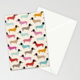 Sweet retro dachshund doxie puppy pattern Stationery Cards