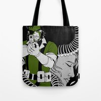 metal gear solid Tote Bags featuring Metal Gear Solid 3: Snake Eater by Monserratt