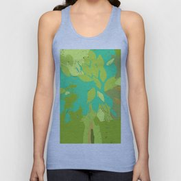 Tree in felted wool, spring summer green teal blue mixed media Unisex Tank Top