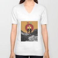 frida V-neck T-shirts featuring FRIDA by Estera Lazowska