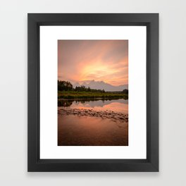 TETONS SUMMER SUNSET - GRAND TETON NATIONAL PARK WYOMING - LANDSCAPE PHOTOGRAPHY PRINT Framed Art Print