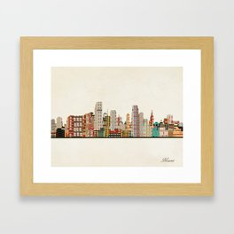 miami florida skyline Framed Art Print