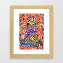 Madhubani - Orange Durga Framed Art Print