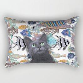 Black cat looking at an exotic fish tank Rectangular Pillow