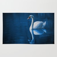 swan Area & Throw Rugs featuring Swan by Spooky Dooky