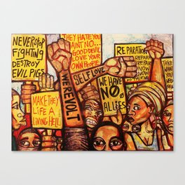 2020 Reparations Is My Only Language End The Psychotic Maniac Terrorism by Marcellous Lovelace Canvas Print