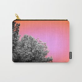Living Coral Peach Sky Gray Leaves Carry-All Pouch