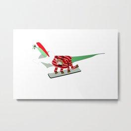 Dinosaur Snowboarding in Ugly Christmas Jumper Metal Print