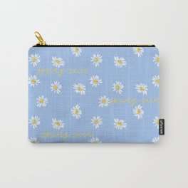 Spring rain with daisies and yellow gold typography script Carry-All Pouch