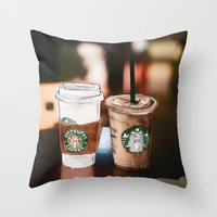 starbucks Throw Pillows featuring Starbucks Coffee  by Sara Eshak