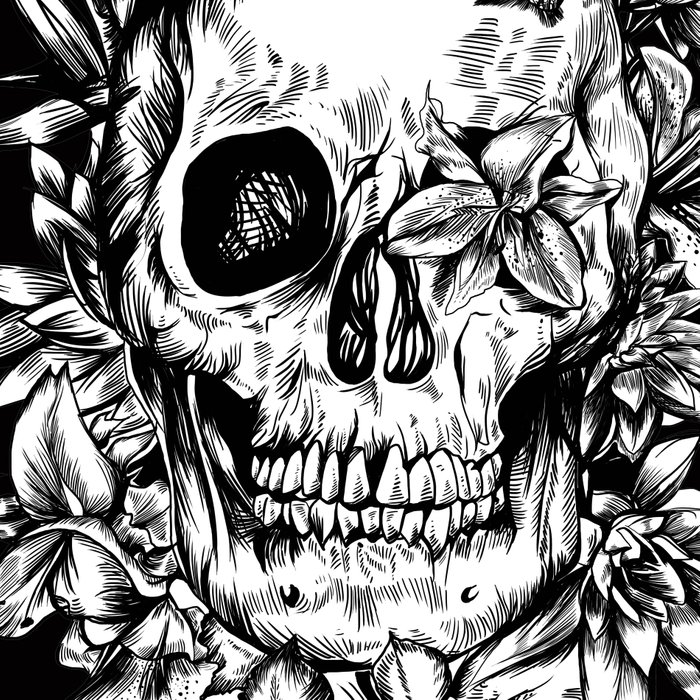 floral skull drawing black and white 2 Leggings