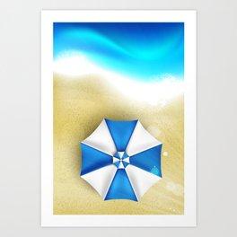 Couple of umbrellas on the beach, graphic art Art Print
