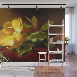 A Gold Yellow Magnolia on Red Velvet by Martin Johnson Head Wall Mural