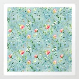 Aqua blue coral pink botanical roses and foliage pastel pattern Art Print