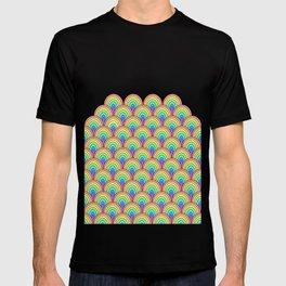 rainbow scallop pattern T-shirt