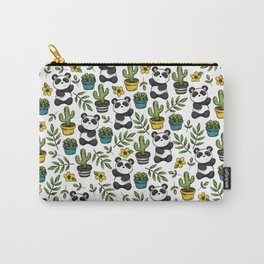 Panda Print, Succulents, Greenery and Cute Pandas, Flowers and Cactus Carry-All Pouch