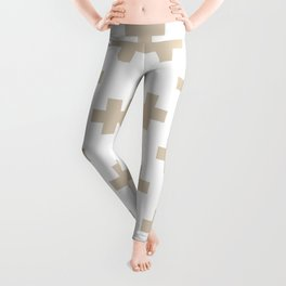 Beige Plus Sign Pattern Leggings