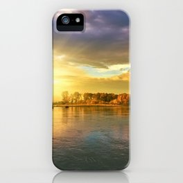Autumn Foliage and Sunrise along the riverside landscape iPhone Case