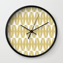 Mid Century Modern Diamond Pattern Gold 234 Wall Clock