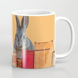 Rabbit with squirrel behind old Books #society6 Coffee Mug