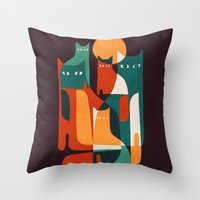 family Throw Pillows featuring Cat Family by Picomodi